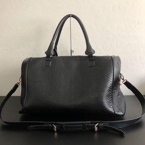 Topshop black faux leather duffle bag